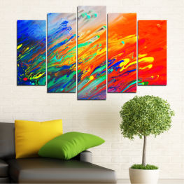 Abstraction, Fresh, Colorful » Blue, Orange, Beige, Dark grey