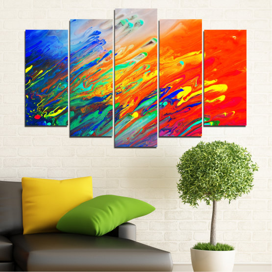 Canvas prints & wall decorative panels - 5 pieces №0001 » Blue, Orange, Beige, Dark grey » Abstraction, Colorful, Fresh Form #1