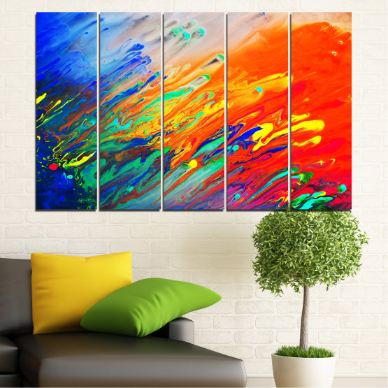 Canvas prints & wall decorative panels - 5 pieces №0001 » Blue, Orange, Beige, Dark grey » Abstraction, Colorful, Fresh Form #2