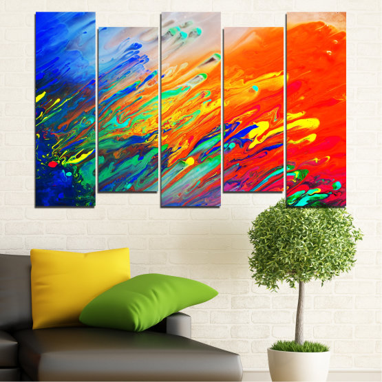 Canvas prints & wall decorative panels - 5 pieces №0001 » Blue, Orange, Beige, Dark grey » Abstraction, Colorful, Fresh Form #3