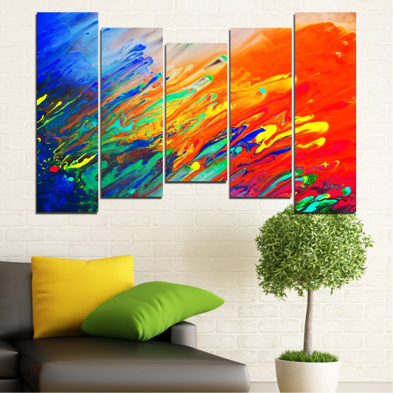 Canvas prints & wall decorative panels - 5 pieces №0001 » Blue, Orange, Beige, Dark grey » Abstraction, Colorful, Fresh Form #4