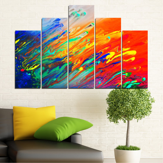 Canvas prints & wall decorative panels - 5 pieces №0001 » Blue, Orange, Beige, Dark grey » Abstraction, Colorful, Fresh Form #5