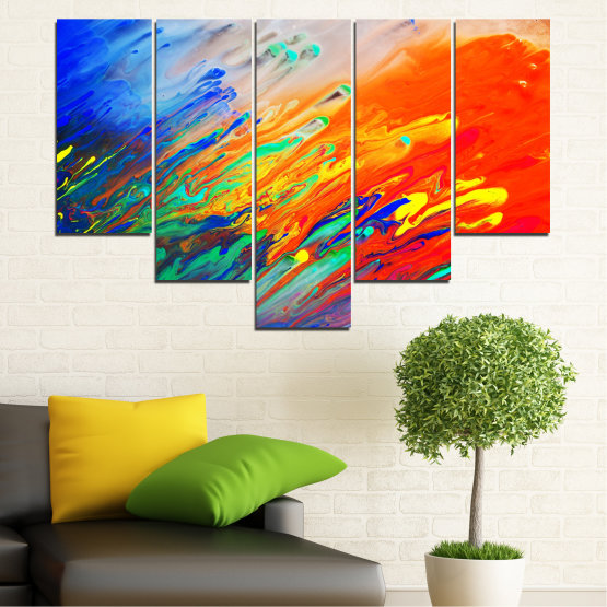 Canvas prints & wall decorative panels - 5 pieces №0001 » Blue, Orange, Beige, Dark grey » Abstraction, Colorful, Fresh Form #6