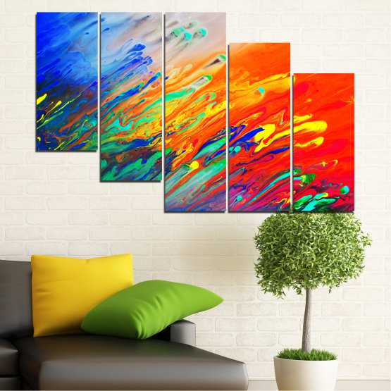 Canvas prints & wall decorative panels - 5 pieces №0001 » Blue, Orange, Beige, Dark grey » Abstraction, Colorful, Fresh Form #7