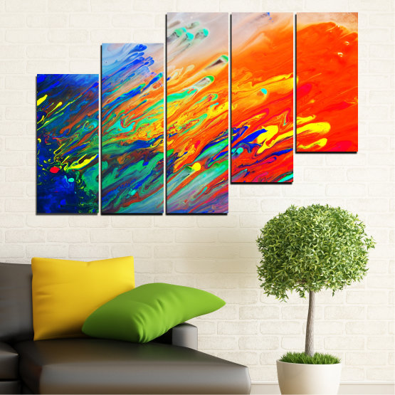 Canvas prints & wall decorative panels - 5 pieces №0001 » Blue, Orange, Beige, Dark grey » Abstraction, Colorful, Fresh Form #8