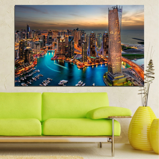 Εκτύπωση σε καμβά και διακοσμητικά πάνελ τοίχου - 1 τεμάχιο №0331 » Καστανός, Μαύρος, Γκρί, Μπεζ, Σκούρο γκρι » Ηλιοβασίλεμα, Νερό, Πόλη, Dubai, Φώτα, Ουρανοξύστης Form #1
