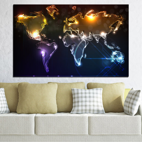 Canvas prints & wall decorative panels - 1 piece №0332 » Brown, Black, White, Dark grey » Abstraction, Geography, Shine, Map Form #1