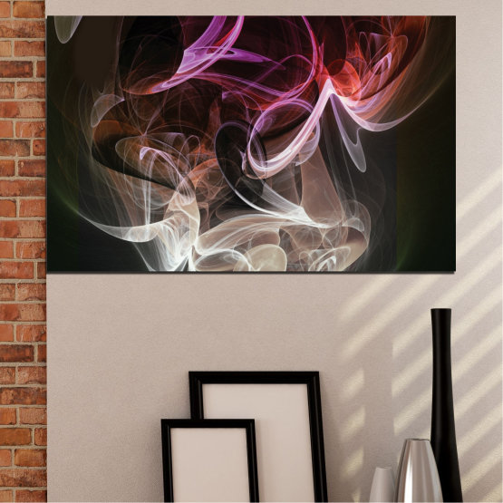 Canvas prints & wall decorative panels - 1 piece №0333 » Brown, Black, Gray, Dark grey » Abstraction, Smoke, Colorful Form #1