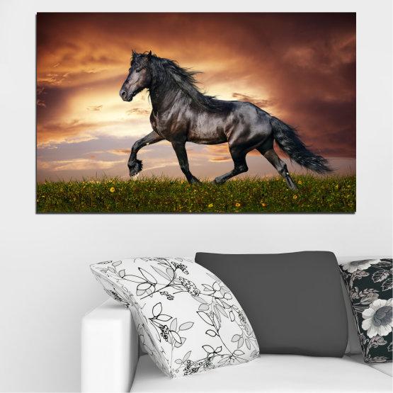 Canvas prints & wall decorative panels - 1 piece №0336 » Brown, Black, Gray, Dark grey » Animal, Horse, Portrait Form #1