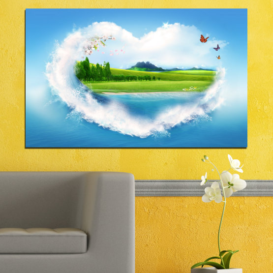 Canvas prints & wall decorative panels - 1 piece №0340 » Blue, Turquoise, Gray, White » Nature, Landscape, Collage, Meadow, Heart, Field Form #1