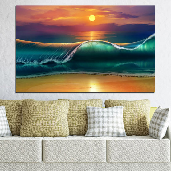 Canvas prints & wall decorative panels - 1 piece №0341 » Yellow, Orange, Brown, Black, Dark grey » Sea, Collage, Water, Sun, Drawing, Wave Form #1
