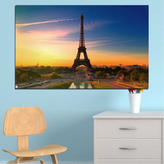 Canvas prints & wall decorative panels - 1 piece №0343 » Blue, Brown, Gray, Beige, Dark grey » Sunset, Sky, Eiffel tower, Paris, France Form #1