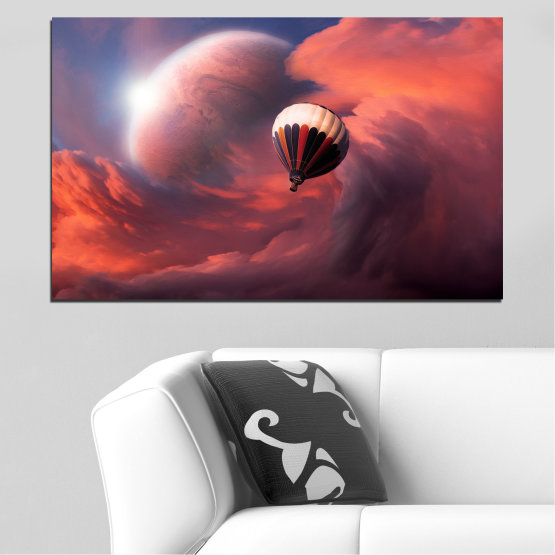 Canvas prints & wall decorative panels - 1 piece №0345 » Pink, Orange, Brown, Gray, Dark grey » Collage, Sky, Cloud, Baloon Form #1
