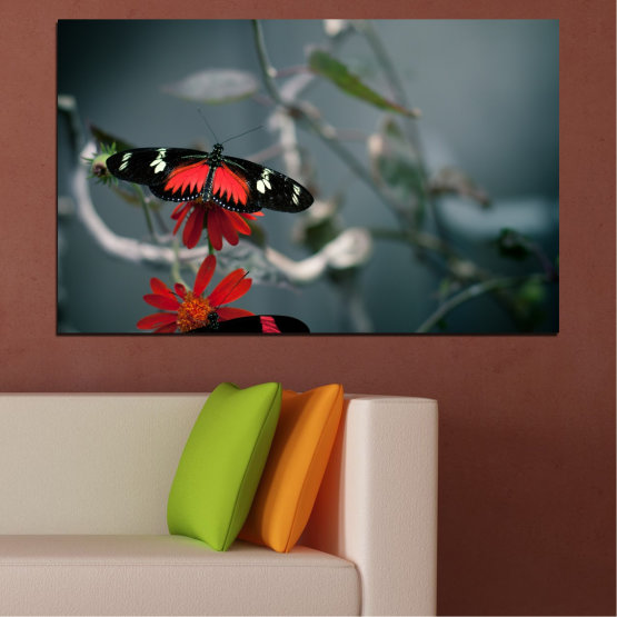 Canvas prints & wall decorative panels - 1 piece №0346 » Red, Black, Gray, Dark grey » Animal, Water, Butterfly, Reflection Form #1