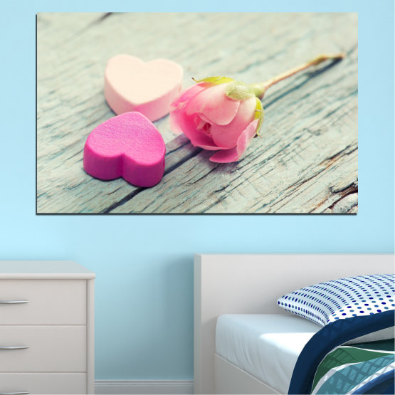 Εκτύπωση σε καμβά και διακοσμητικά πάνελ τοίχου - 1 τεμάχιο №0347 » Ροζ, Γκρί, Μπεζ, Γαλακτώδες ροζ » Λουλούδια, Τριαντάφυλλο, Καρδιά Form #1