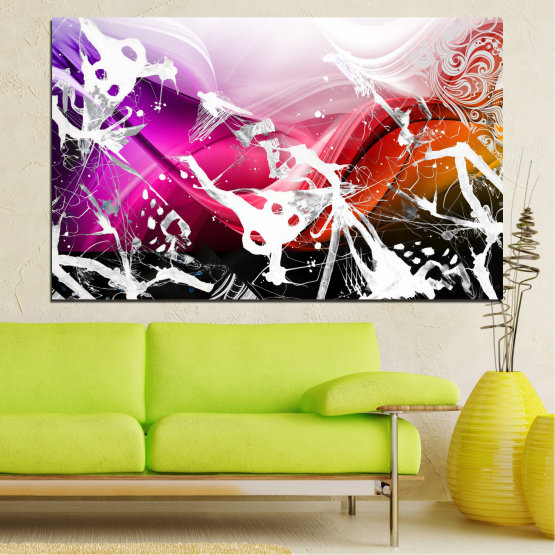 Canvas prints & wall decorative panels - 1 piece №0348 » Pink, Black, Gray, White » Abstraction, Drawing, Art Form #1
