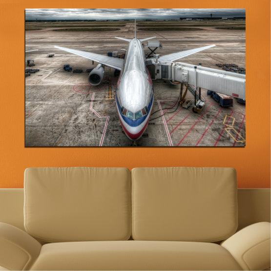 Декоративни панели и картини от канава - от 1 част №0349 » Кафяв, Черен, Сив, Тъмно сив » Превозно средство, Самолет, Писта Form #1