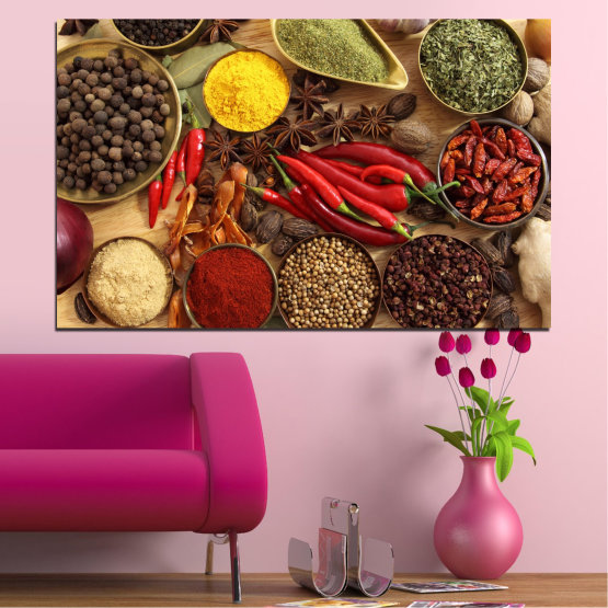 Canvas prints & wall decorative panels - 1 piece №0352 » Red, Brown, Black, Beige » Culinary, Vegetables, Spices Form #1