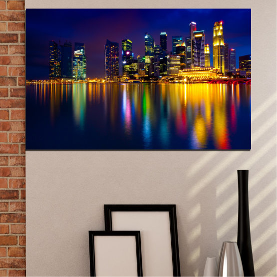 Canvas prints & wall decorative panels - 1 piece №0353 » Blue, Brown, Black, Dark grey » Water, City, Lights, Night, Аsia, Singapore Form #1