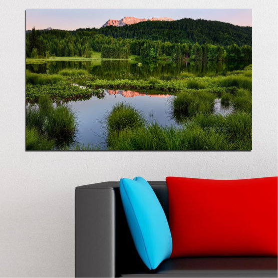 Декоративни панели и картини от канава - от 1 част №0354 » Зелен, Черен, Сив » Природа, Вода, Пейзаж, Планина, Гора Form #1