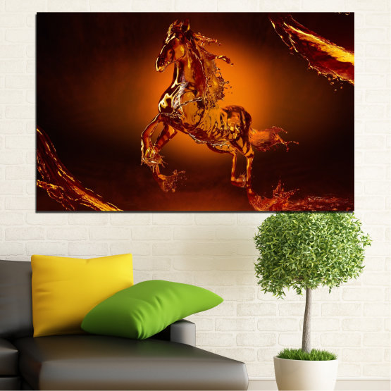 Canvas prints & wall decorative panels - 1 piece №0355 » Red, Orange, Brown, Black » Abstraction, Water, Horse Form #1