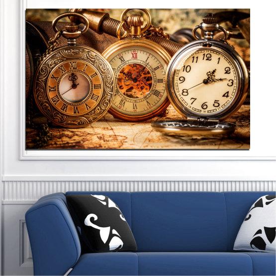 Canvas prints & wall decorative panels - 1 piece №0356 » Orange, Brown, Black, Beige » Collage, Watch, Pocket watch Form #1