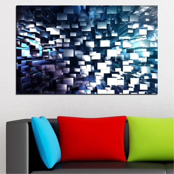 Canvas prints & wall decorative panels - 1 piece №0357 » Blue, Black, Gray, White, Dark grey » Abstraction, Shine, Rectangle Form #1
