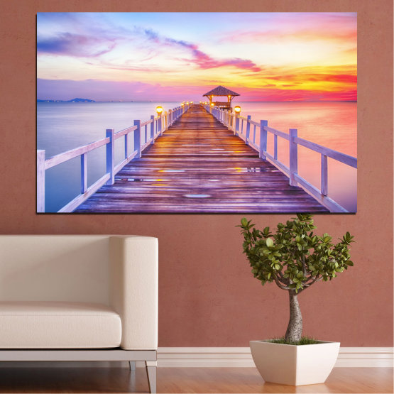 Canvas prints & wall decorative panels - 1 piece №0358 » Gray, Beige, Milky pink » Sunset, Sea, Water, Bridge Form #1