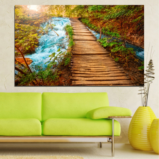 Canvas prints & wall decorative panels - 1 piece №0359 » Green, Orange, Brown, Black » Landscape, Nature, Water, Forest, Tree, Bridge Form #1