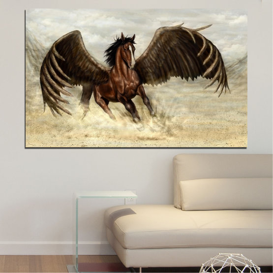 Canvas prints & wall decorative panels - 1 piece №0360 » Brown, Black, Gray, Beige » Animal, Horse, Wings Form #1