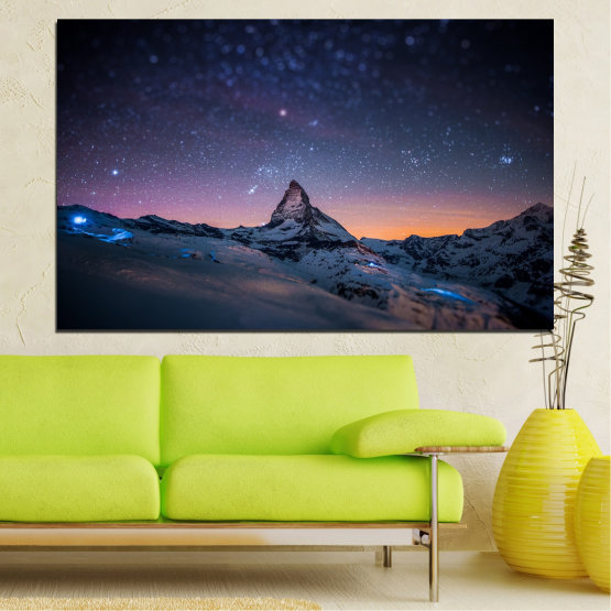 Canvas prints & wall decorative panels - 1 piece №0361 » Purple, Blue, Black, Gray, Dark grey » Nature, Landscape, Mountain, Sky, Star, Night, Snow Form #1