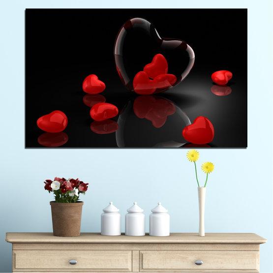 Декоративни панели и картини от канава - от 1 част №0363 » Червен, Черен, Тъмно сив » Колаж, Отражение, Сърце Form #1