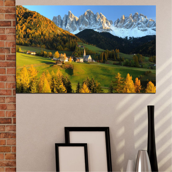 Canvas prints & wall decorative panels - 1 piece №0364 » Turquoise, Green, Brown, Black, Dark grey » Landscape, Nature, Forest, Mountain, House Form #1