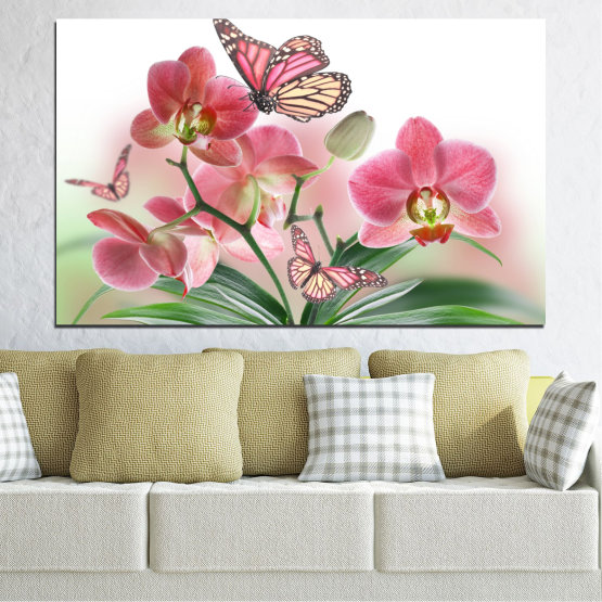Canvas prints & wall decorative panels - 1 piece №0365 » Pink, Gray, White, Beige, Milky pink » Flowers, Orchid, Butterfly Form #1