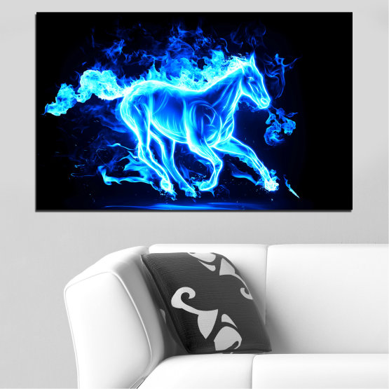 Canvas prints & wall decorative panels - 1 piece №0368 » Blue, Turquoise, Black » Abstraction, Fire, Horse Form #1