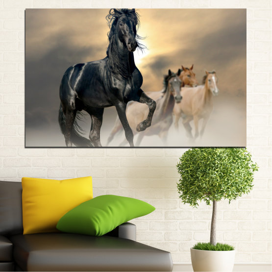 Canvas prints & wall decorative panels - 1 piece №0369 » Black, Gray, Beige, Dark grey » Animal, Horse, Portrait Form #1