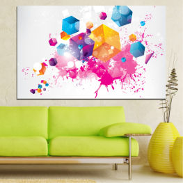 Abstraction, Colorful, Cube » Pink, Yellow, Gray, White, Milky pink