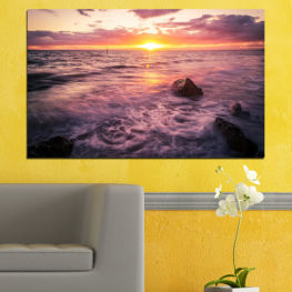 Sea, Landscape, Water, Sun, Sunrise » Brown, Black, Gray, Beige, Dark grey