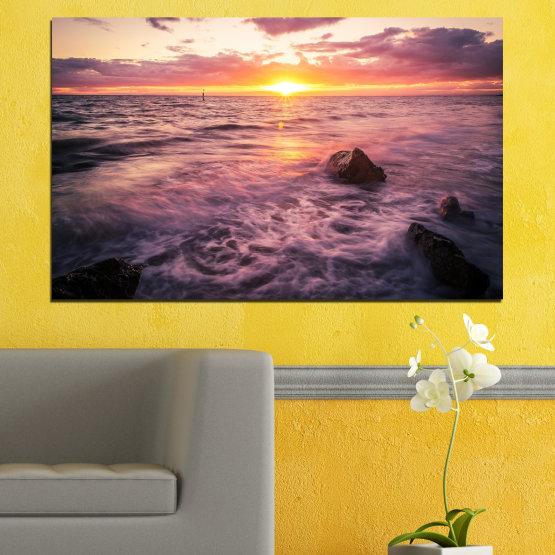 Εκτύπωση σε καμβά και διακοσμητικά πάνελ τοίχου - 1 τεμάχιο №0371 » Καστανός, Μαύρος, Γκρί, Μπεζ, Σκούρο γκρι » Τοπίο, Θάλασσα, Νερό, Ήλιος, Ανατολή ηλίου Form #1