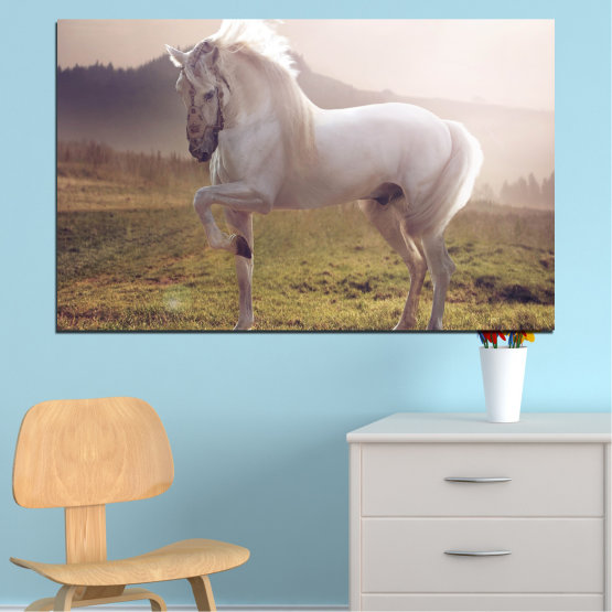 Canvas prints & wall decorative panels - 1 piece №0372 » Brown, Gray, White, Dark grey » Animal, Horse, Portrait Form #1