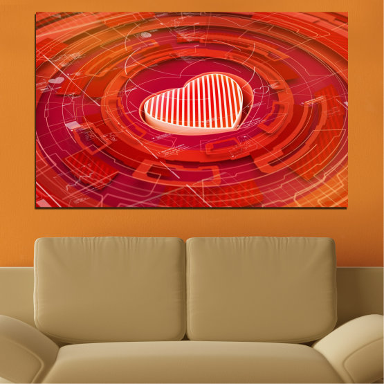 Εκτύπωση σε καμβά και διακοσμητικά πάνελ τοίχου - 1 τεμάχιο №0374 » Κόκκινος, Πορτοκάλι, Άσπρο » Αφαίρεση, Καρδιά, Κύκλος Form #1