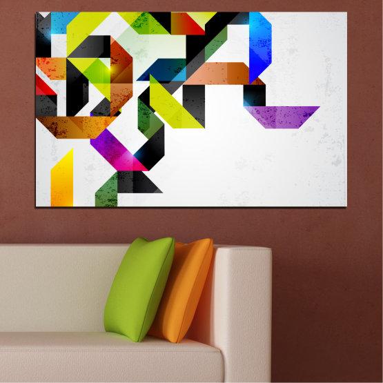 Декоративни панели и картини от канава - от 1 част №0376 » Жълт, Черен, Сив, Бял, Тъмно сив » Абстракция, Цветен, Линии Form #1