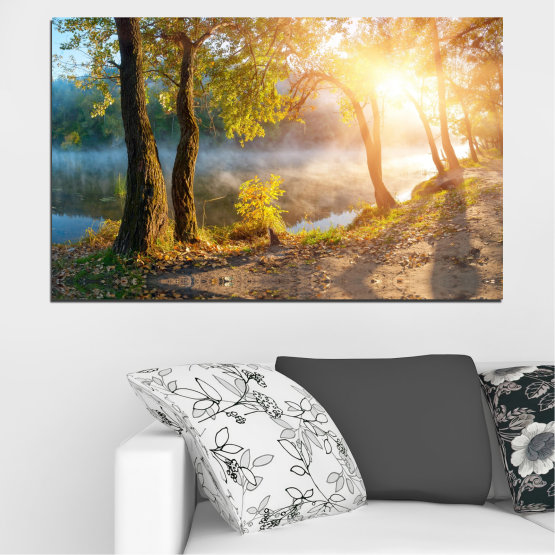 Canvas prints & wall decorative panels - 1 piece №0379 » Brown, Black, Gray, Beige, Dark grey » Landscape, Nature, Water, Sun, Tree Form #1