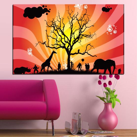 Εκτύπωση σε καμβά και διακοσμητικά πάνελ τοίχου - 1 τεμάχιο №0380 » Κόκκινος, Ροζ, Κίτρινος, Πορτοκάλι, Μαύρος » Ζώο, Κολάζ, Δέντρο, Αφρική, Σκιά Form #1
