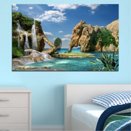 Landscape, Sea, Waterfall, Water, Collage, Bay, Rocks, Elephant » Blue, Turquoise, Black, Gray, Dark grey