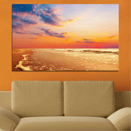 Landscape, Sea, Sunset, Water, Beach, Seaside » Yellow, Orange, Gray, Beige