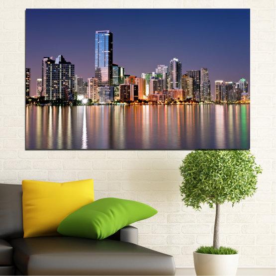 Canvas prints & wall decorative panels - 1 piece №0384 » Purple, Blue, Brown, Gray, Dark grey » City, Water, Lights, Night, Miami, Skyscraper, Usa Form #1