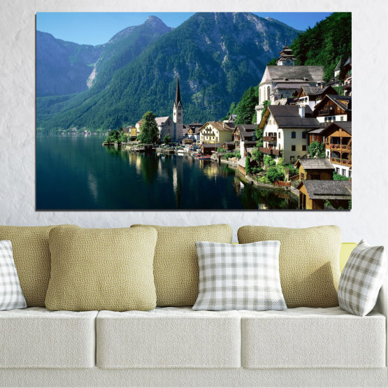 Canvas prints & wall decorative panels - 1 piece №0391 » Blue, Turquoise, Black, Gray, Dark grey » Landscape, Nature, Water, City, Mountain, River, House, Austria Form #1