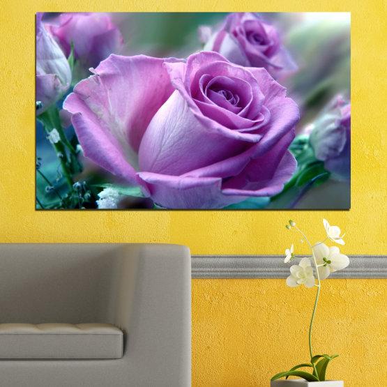 Декоративни панели и картини от канава - от 1 част №0392 » Лилав, Сив, Тъмно сив » Цветя, Роза, Букет Form #1