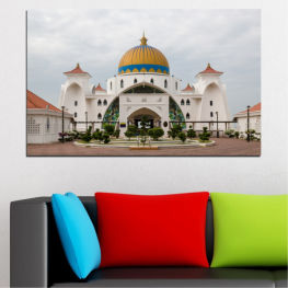 View, Mosque, Malaysia, Religion » Brown, Gray, White, Dark grey